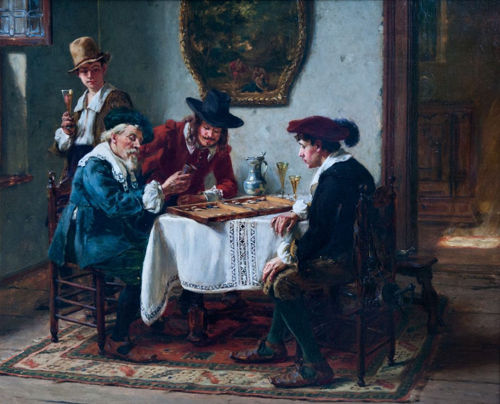 old painting of guys playing backgammon