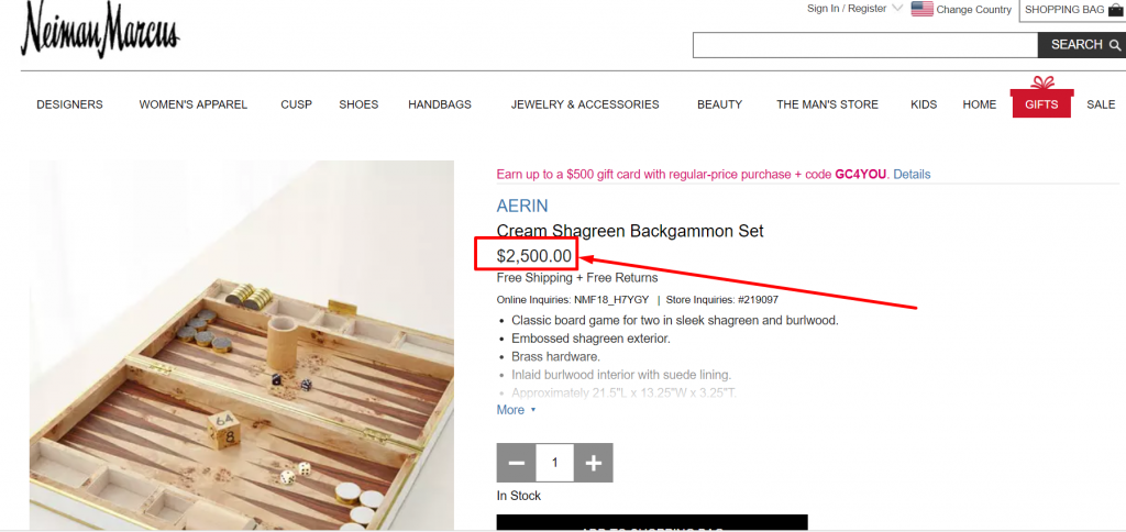 aerin backgammon set on nieman marcus