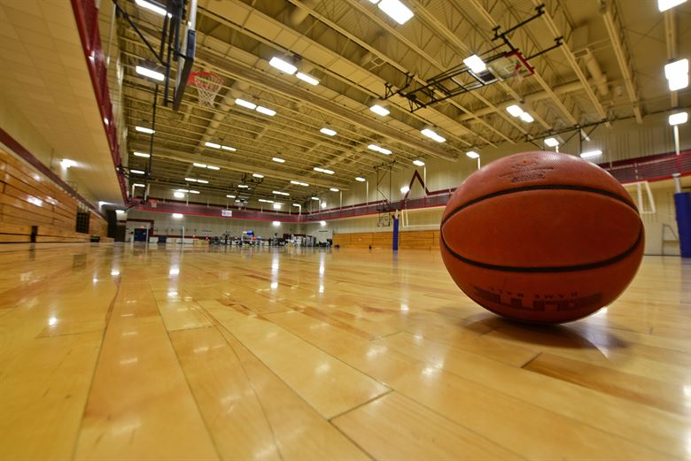 indoor basketball sitting on gym floor
